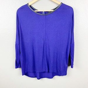 Zara W&B Collection Top with Faux leather trim